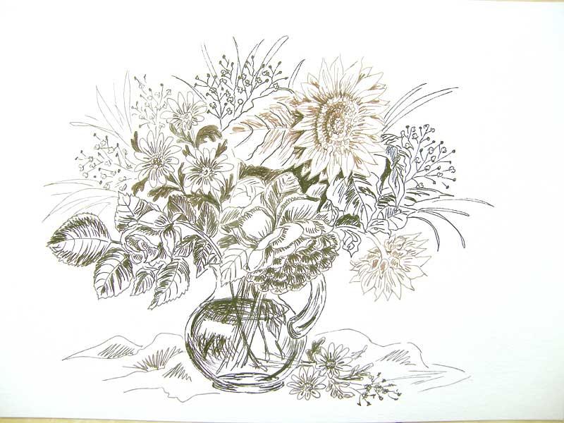 wazon z kwiatami rysunek art penem