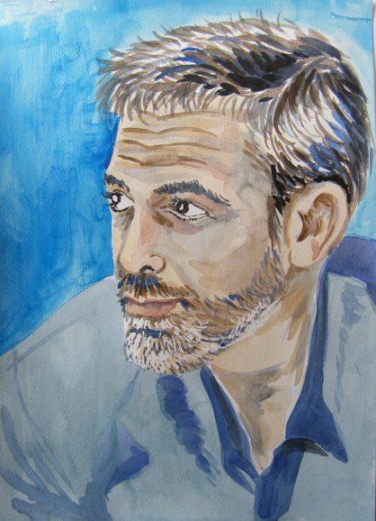 akwarela George Cloony - malgorzata Jasklowska