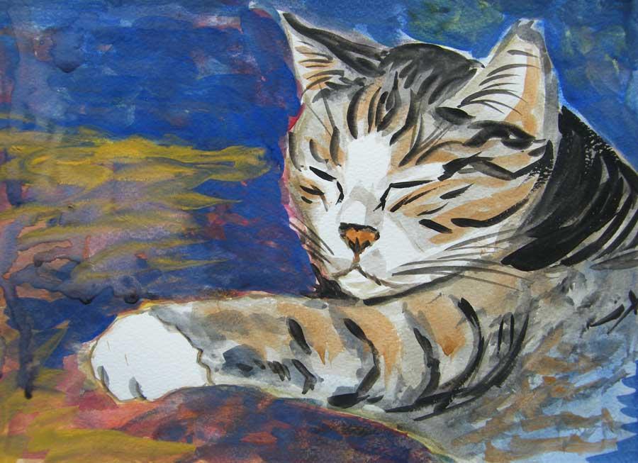 kot w akwareli