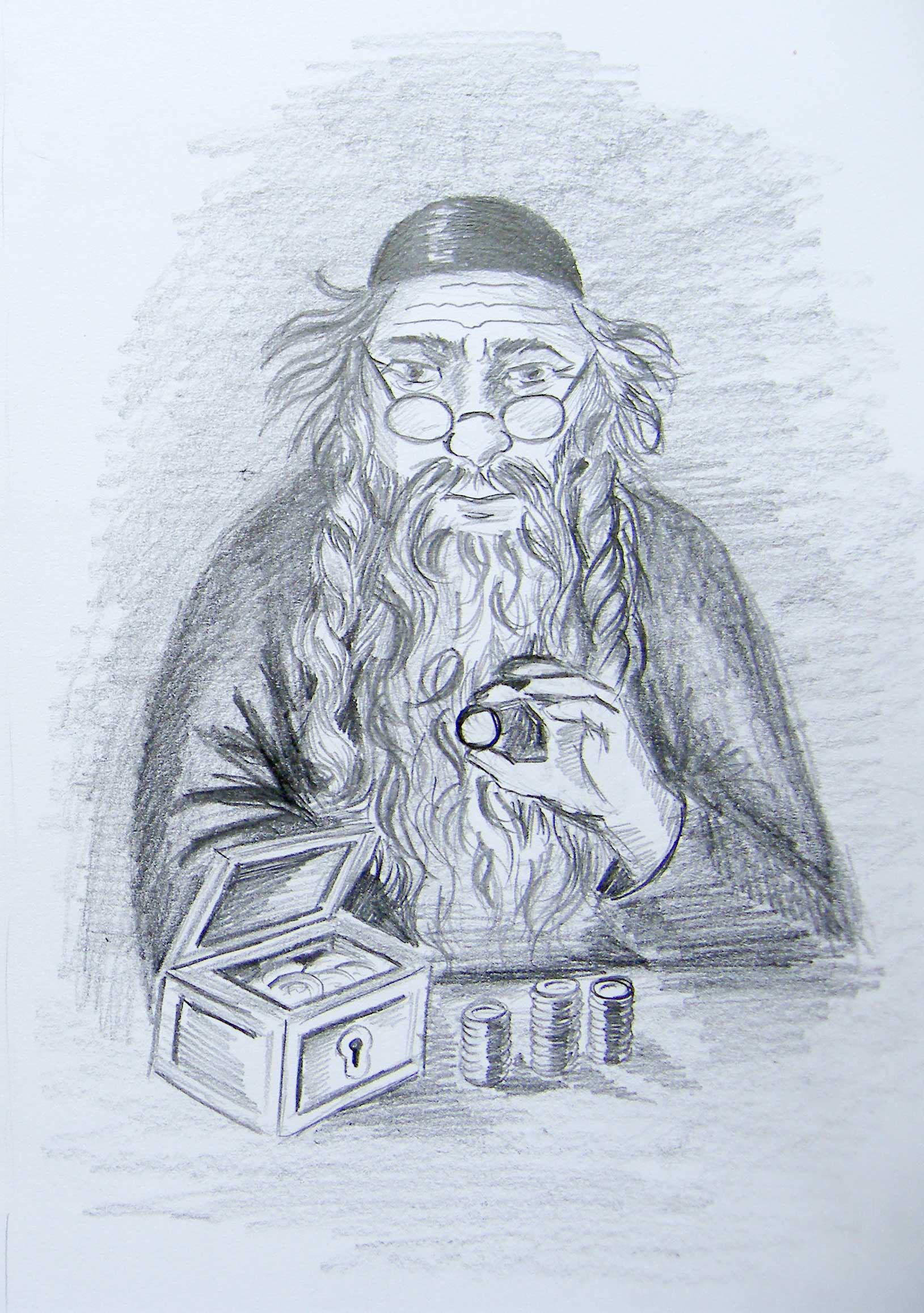 Żyd liczący pieniądze – rysunek