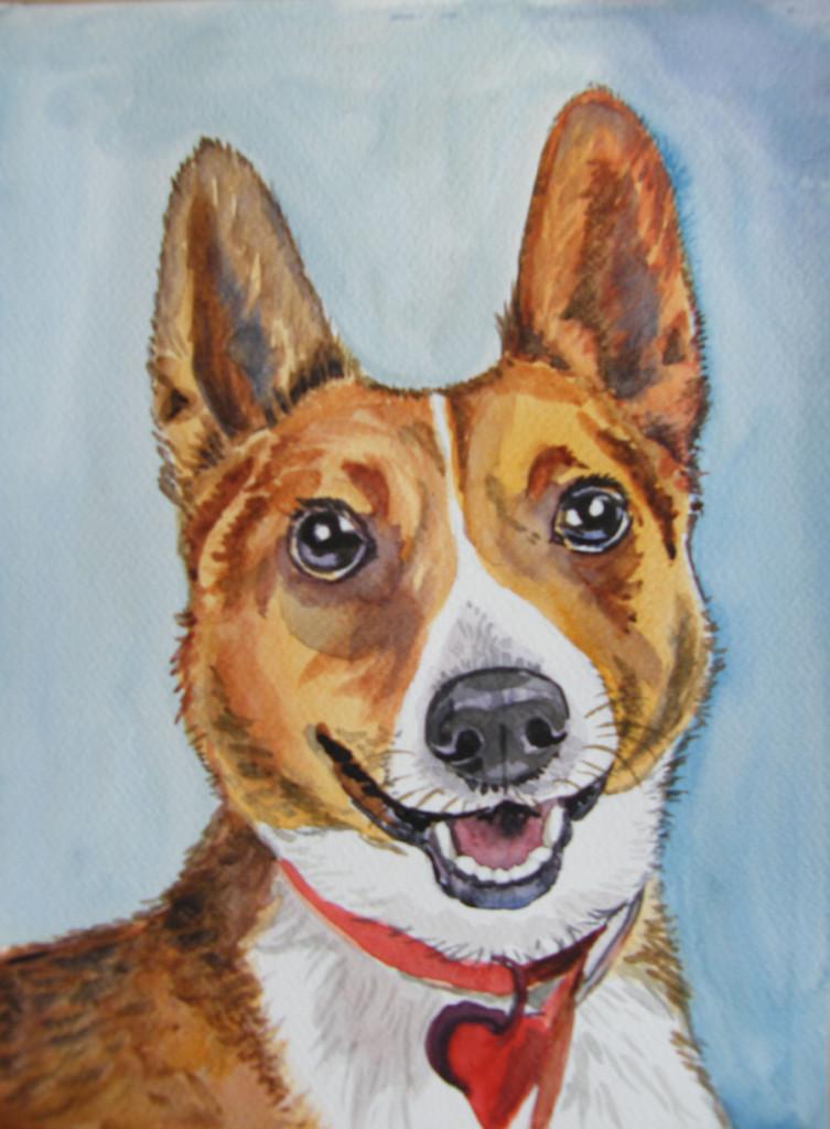 portret psa akwarela