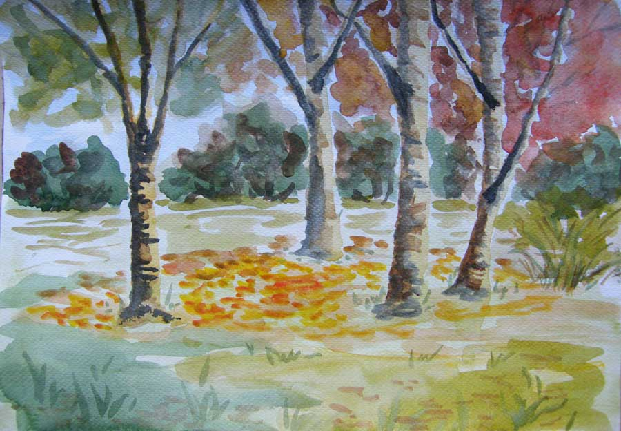 jesienny park akwarela