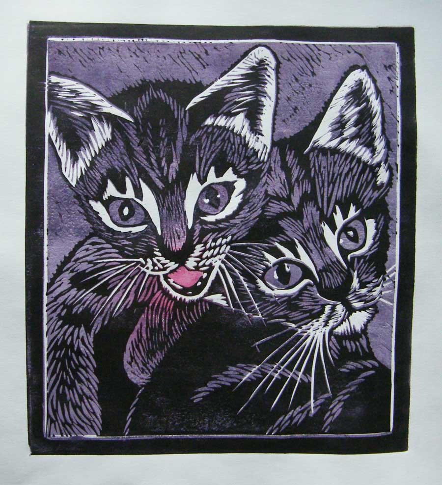 Linoryt kolorowy - 2 kotki