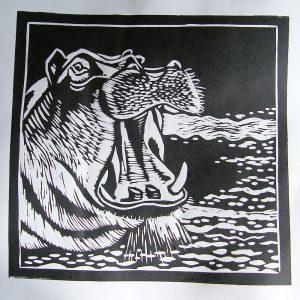 linoryt hipopotam - malgorzata Jaskłowska