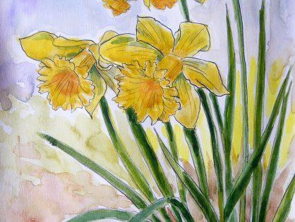 Kwiaty - akwarela Małgorzata Jaskłowska