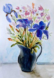 wazon z kwiatami - akwarela Małgorzata Jaskłowska