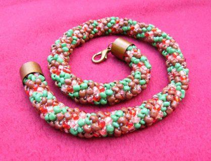 biżuteria ręcznie robiona, naszyjnik ukośnik małgorzata Jaskłowska