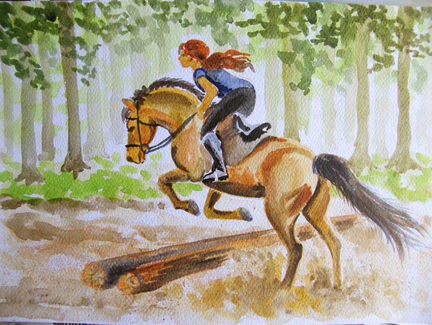 konie akwarela małgorzata jaskłowska