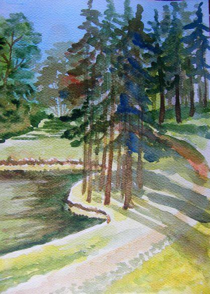park skaryszewski akwarela małgorzata jaskłowska