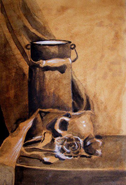 rysunek tuszem - martwa nautrua