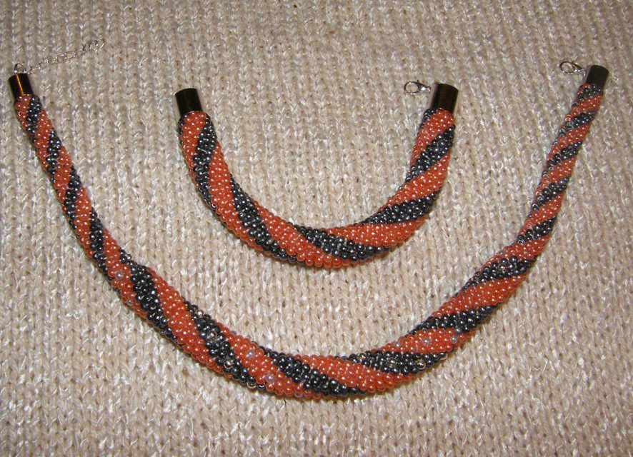 naszyjnik i bransoletka z koralików toho, biżuteria ręcznie robiona