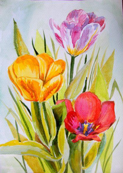 akwarela kwiaty