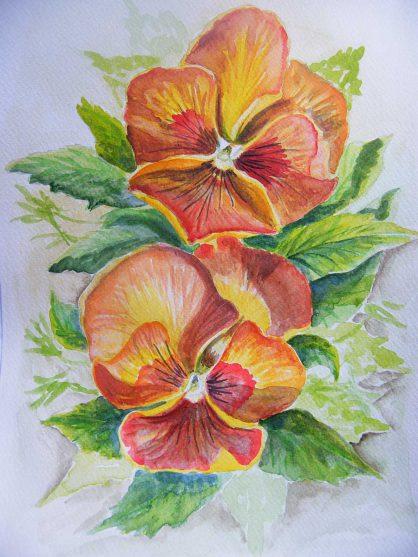 akwarela kwiaty bratki - małgorzata Jaskłowska