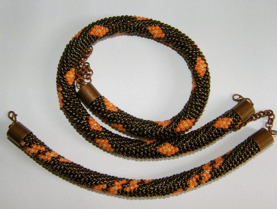 bransoletka i naszyjnik z koralików toho
