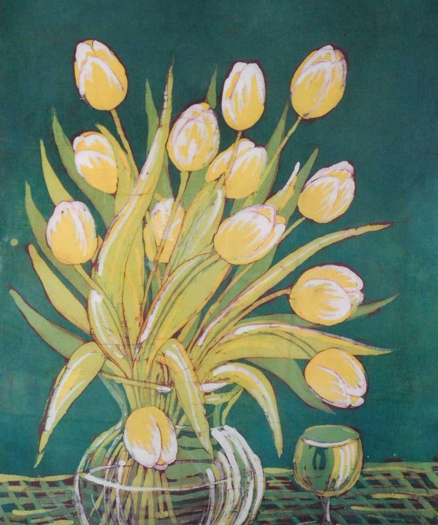 Batik - wazon z kwiatami