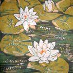 batik kwiaty lilie wodne