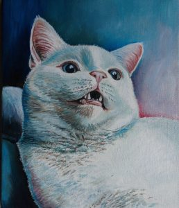 obraz olejny kot