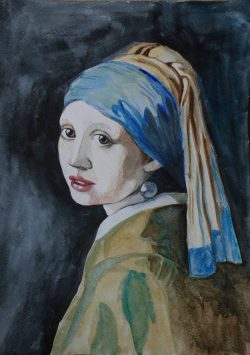 dziewczyna z perłą vermeer akwarela