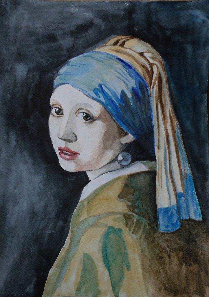 dziewczyna z perłą akwarela