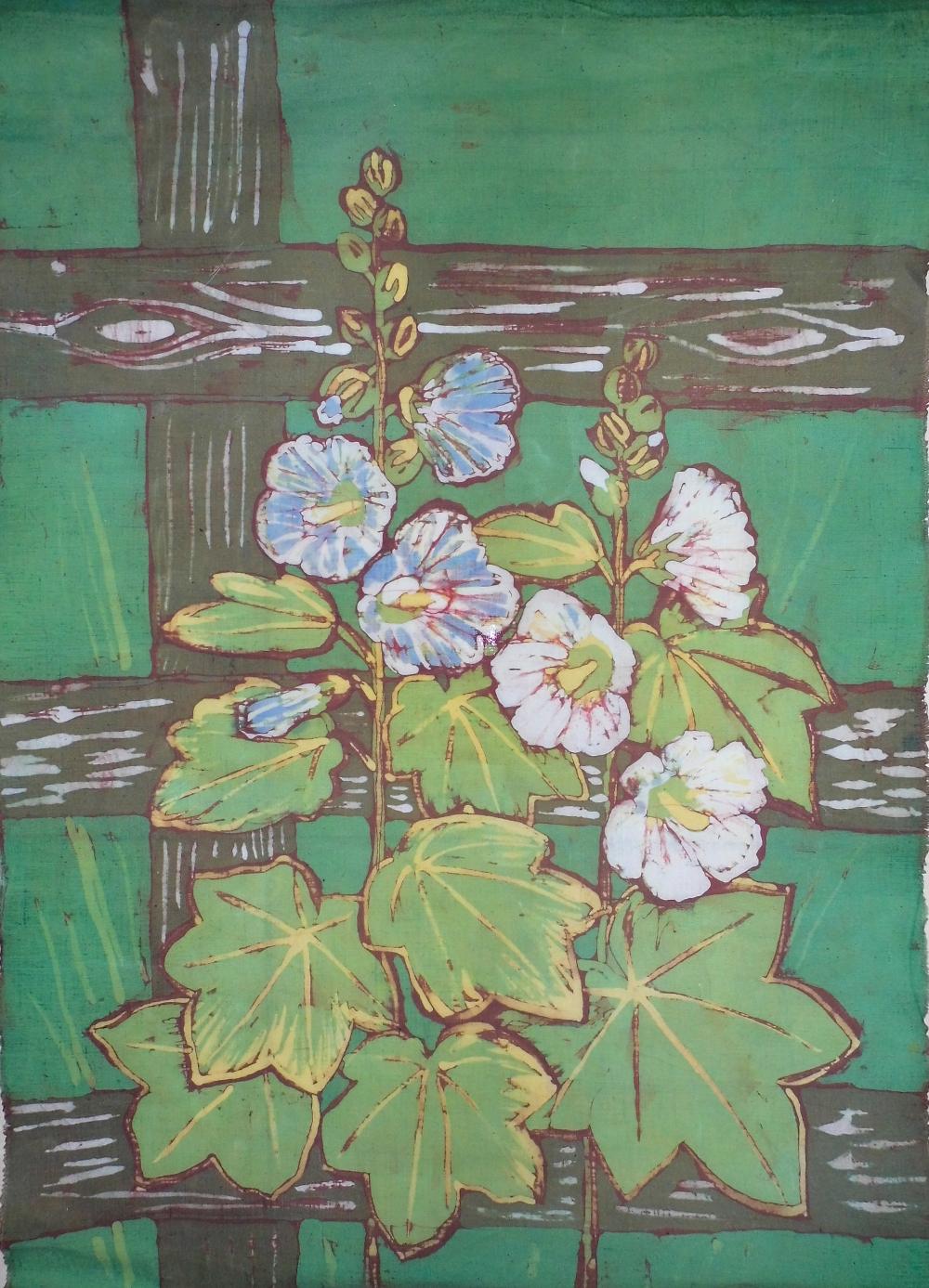 Halina Małgorzata Jaskłowska - batik kwiaty