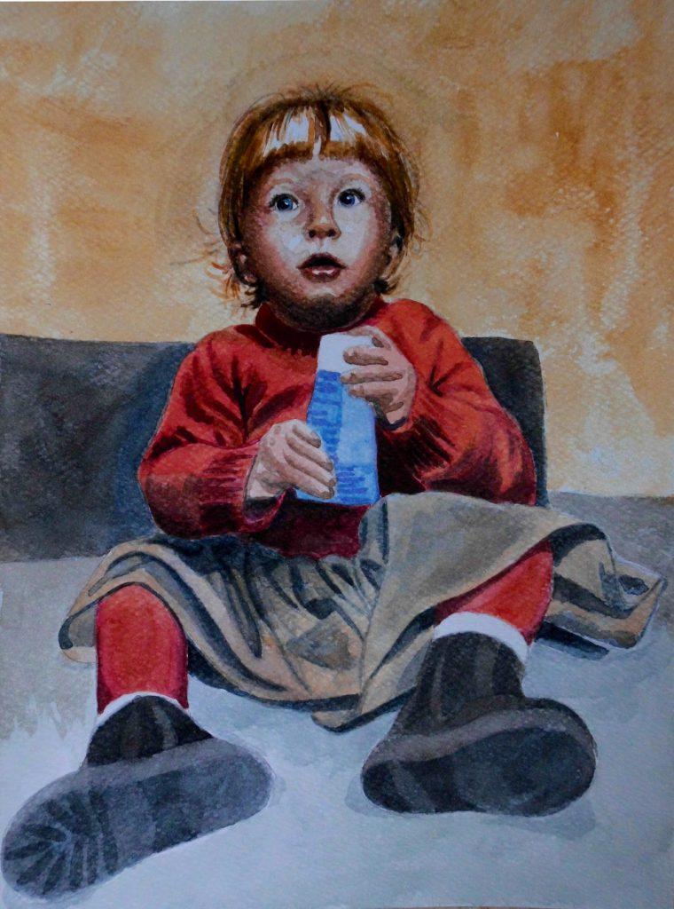 dziecko akwarela