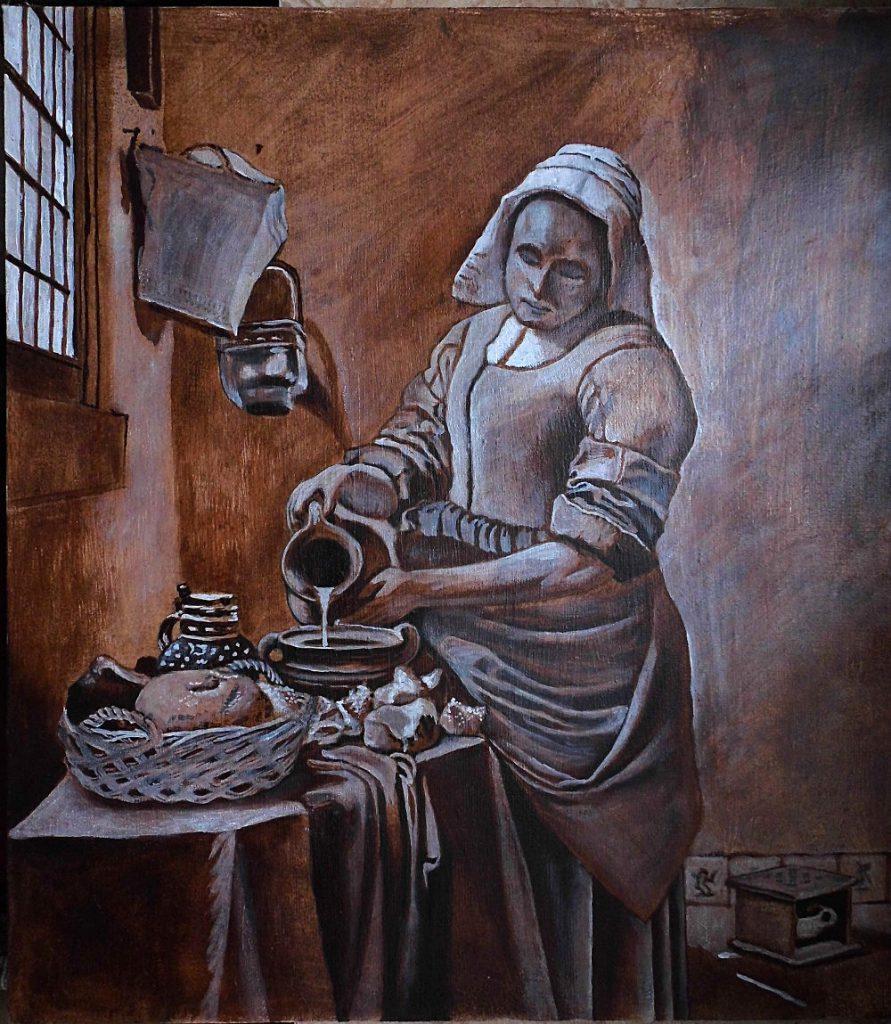 Mleczarka vermeer obraz olejny kopia