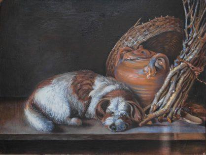 Pastisz obrazu Śpiący pies Geritt Dou