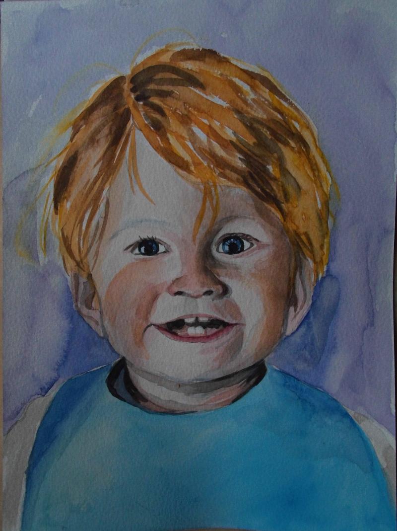 Portret dziecka - akwarela