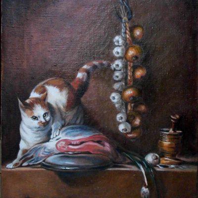 Pastisz – Martwa natura z kotem i rybą J.B.Chardin