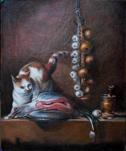 Pastisz - Martwa natura z kotem i rybą J.B.Chardin
